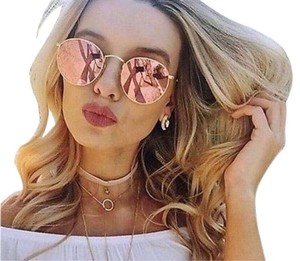Ray-Ban round metal pink flash lens copper flash lens gold frame 50MM