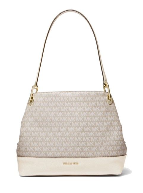 Item - Raven Large Logo Natural Cream Leather/Jacquard Shoulder Bag