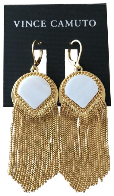 Item - Gold Fringe Mother Of Pearl Drops Earrings