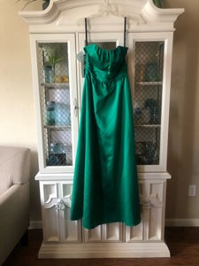 Alfred Angelo Green Satin 7267 Formal Bridesmaid/Mob Dress Size 6 (S)