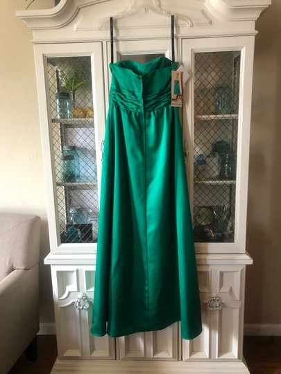Alfred Angelo Green Satin 7267 Formal Bridesmaid/Mob Dress Size 6 (S) Image 1