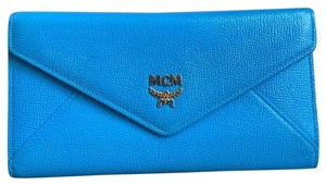 MCM MCM Blue Saffiano Leather Long Trifold Wallet W/ Photo ID Window