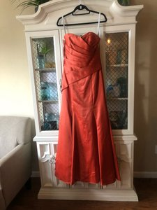 Alfred Angelo Rustic Orange Satin 7168 Formal Bridesmaid/Mob Dress Size 10 (M)