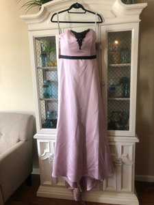 Alfred Angelo Black/Dusty Pink Satin 7284l Formal Bridesmaid/Mob Dress Size 8 (M)
