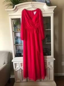 Alfred Angelo Red Chiffon 7325 Formal Bridesmaid/Mob Dress Size 8 (M)
