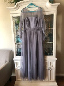 Alfred Angelo Gray Tulle Modern Vintage 8622 Feminine Bridesmaid/Mob Dress Size 14 (L)