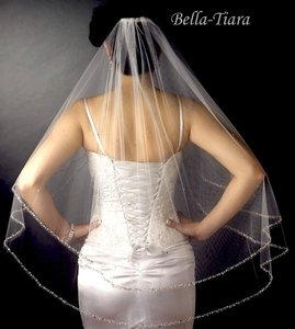 Bella Tiara 2- Tier Crystal Beaded Edge Wedding Veil - Sale