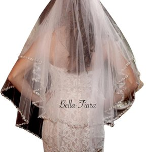 Bella Tiara 2 Tier Beaded Edge Wedding Veil