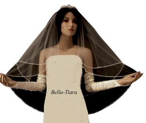Bella Tiara Ivory Medium Free Shipping 2 Tier Beaded Edge Bridal Veil