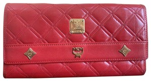 MCM Vintage MCM Red Quilted Leather Long Trifold Wallet