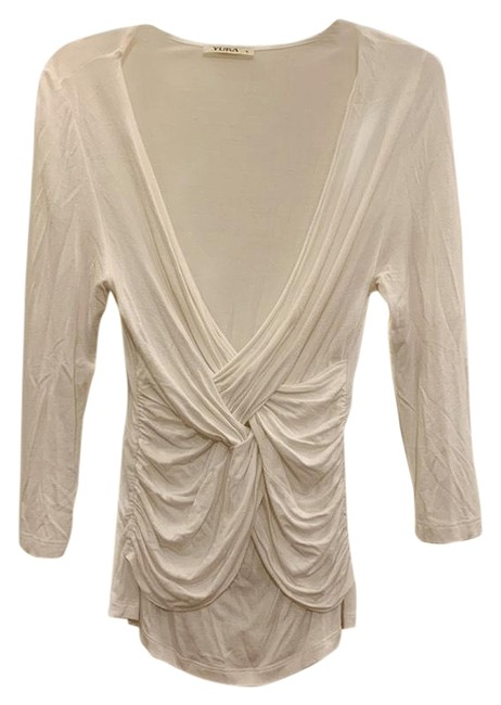 Item - Off-white/Cream Knotted Front V-neck Blouse In Tee Shirt Size 4 (S)