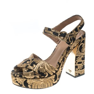 Tory Burch Brocade Leather Gold Sandals