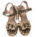 Tory Burch Brocade Leather Gold Sandals Image 1