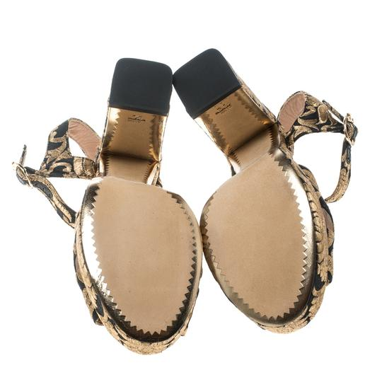 Tory Burch Brocade Leather Gold Sandals Image 3
