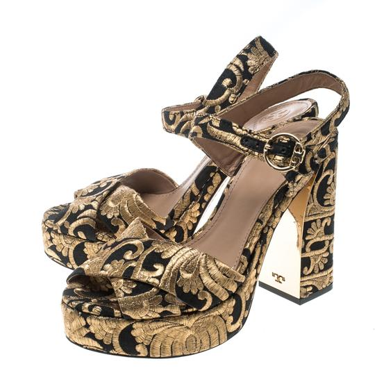 Tory Burch Brocade Leather Gold Sandals Image 4