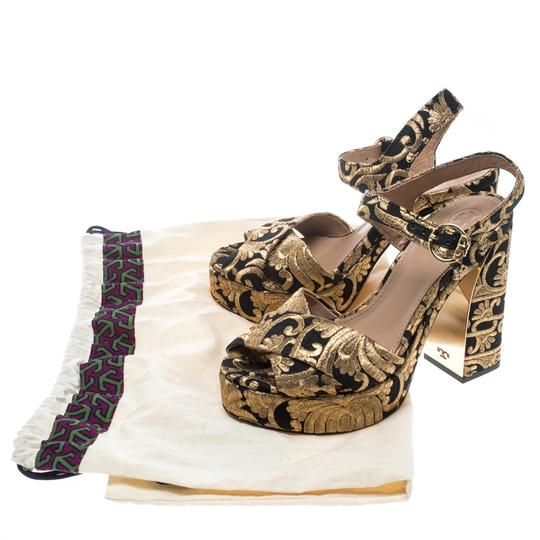 Tory Burch Brocade Leather Gold Sandals Image 6