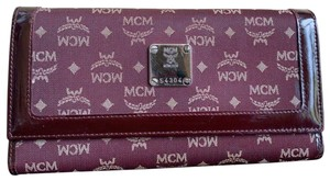 MCM MCM Burgundy Canvas Patent Leather Long Trifold Wallet W/ ID Windows