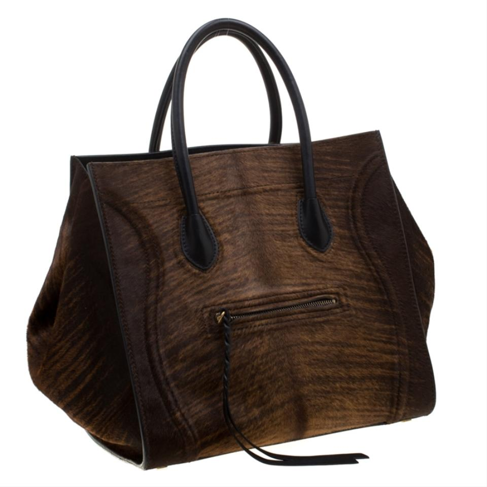 pretty and colorful classic fit hot-selling Céline Cabas Phantom Luggage Brown Calfhair and Leather Tote 59% off retail