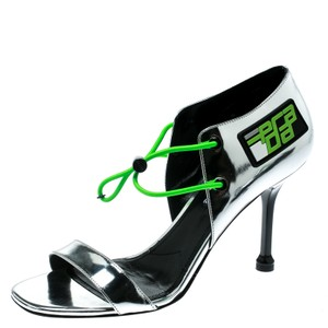 Prada Leather Open Toe Silver Sandals