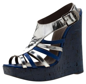 Versace Wedge Leather Silver Sandals