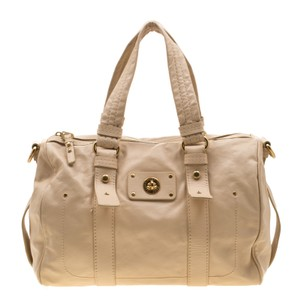 Marc by Marc Jacobs Leather Turnlock Satchel in Beige