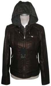Bod & Christensen Motojacket Hooded Insulated Brown Leather Jacket