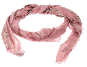 Gucci Pink Arabesque Print Silk Blend Shawl