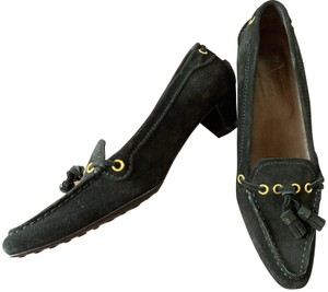The Original Car Shoe Prada Suede Tassels Kitten Heel black Pumps