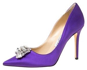 Jimmy Choo Satin Exclusive Crystal Embellished Pointed Toe Purple Pumps