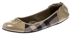 Burberry Patent Leather Canvas Beige Flats