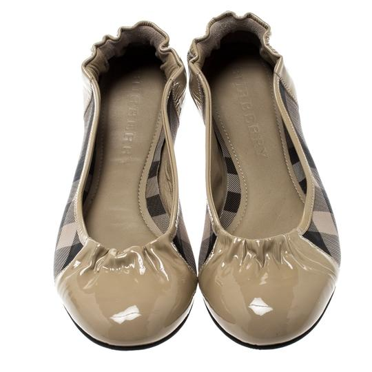 Burberry Patent Leather Canvas Beige Flats Image 1