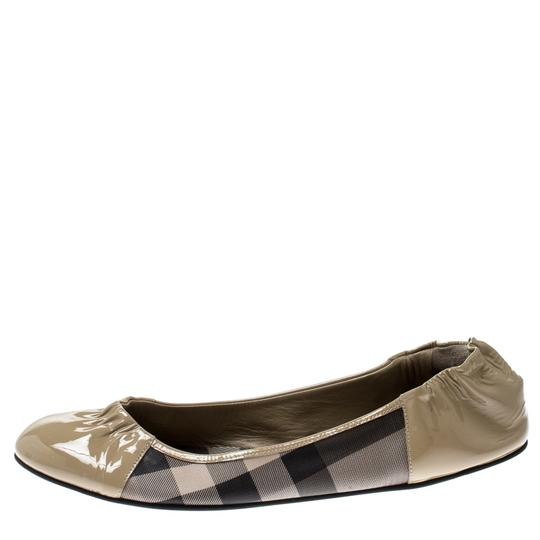 Burberry Patent Leather Canvas Beige Flats Image 2