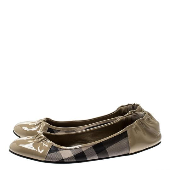 Burberry Patent Leather Canvas Beige Flats Image 3