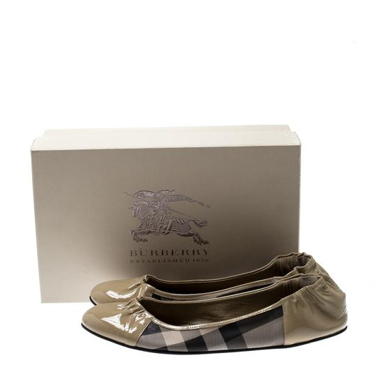 Burberry Patent Leather Canvas Beige Flats Image 4