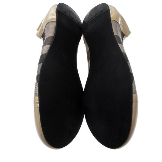 Burberry Patent Leather Canvas Beige Flats Image 5