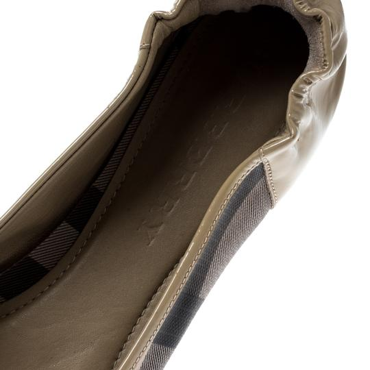 Burberry Patent Leather Canvas Beige Flats Image 6