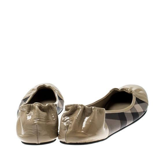 Burberry Patent Leather Canvas Beige Flats Image 7