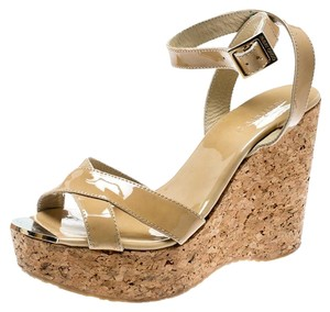 Jimmy Choo Patent Leather Cork Leather Beige Sandals