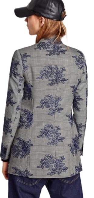 Item - Grey Checkered Frock Floral Coat Size 8 (M)