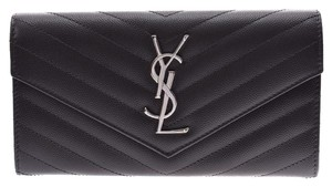 Saint Laurent Saint Laurent Monogram Flap Wallet Gray SV Hardware Ladies Calf Long Good Condition SAINT LAURENT Box
