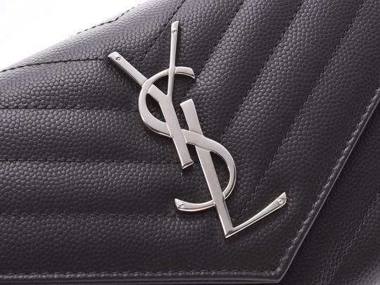 Saint Laurent Saint Laurent Monogram Flap Wallet Gray SV Hardware Ladies Calf Long Good Condition SAINT LAURENT Box Image 4