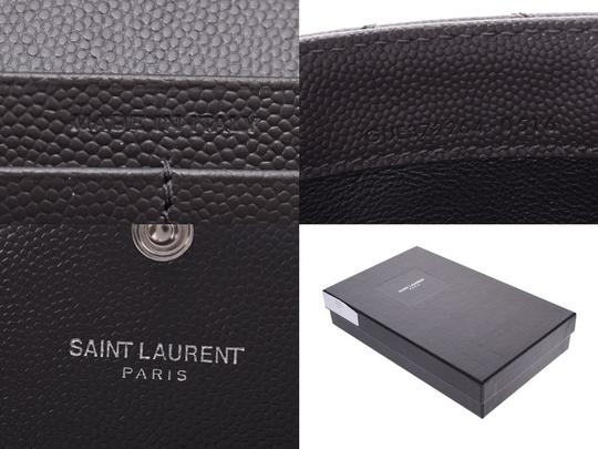 Saint Laurent Saint Laurent Monogram Flap Wallet Gray SV Hardware Ladies Calf Long Good Condition SAINT LAURENT Box Image 8