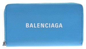 Balenciaga Balenciaga Everyday Round Fastener Long Wallet Light Blue Women's Men's Calf BALENCIAGA