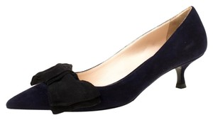 Prada Suede Kitten Navy Blue Pumps