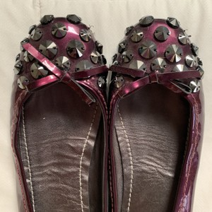 The Original Car Shoe Embelleshed Patent Leather Gunmetal purple Flats