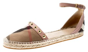 Burberry Studded Leather Canvas Pink Flats