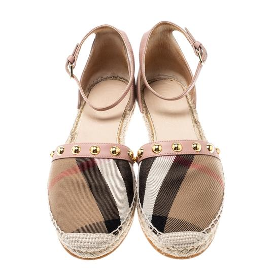 Burberry Studded Leather Canvas Pink Flats Image 1