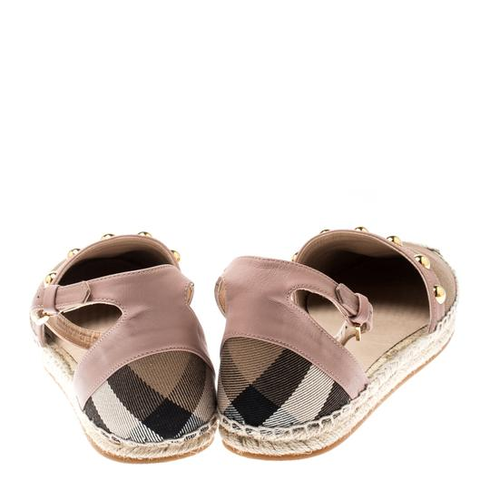 Burberry Studded Leather Canvas Pink Flats Image 2
