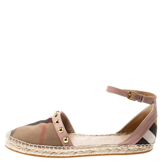 Burberry Studded Leather Canvas Pink Flats Image 3