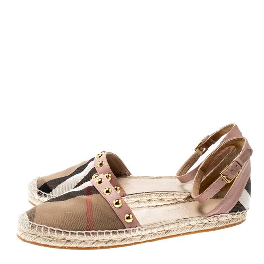 Burberry Studded Leather Canvas Pink Flats Image 4